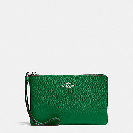 COACH CORNER ZIP WRISTLET IN CROSSGRAIN LEATHER - SILVER/JADE - f58032