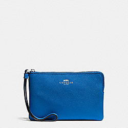 COACH CORNER ZIP WRISTLET IN CROSSGRAIN LEATHER - SILVER/LAPIS - F58032