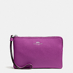 COACH CORNER ZIP WRISTLET IN CROSSGRAIN LEATHER - SILVER/HYACINTH - F58032