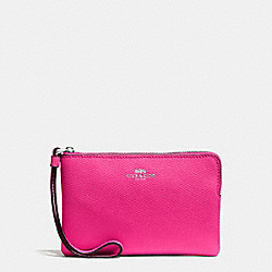 CORNER ZIP WRISTLET IN CROSSGRAIN LEATHER - SILVER/BRIGHT FUCHSIA - COACH F58032