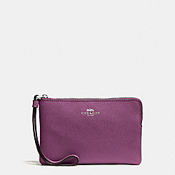 COACH CORNER ZIP WRISTLET IN CROSSGRAIN LEATHER - SILVER/MAUVE - F58032