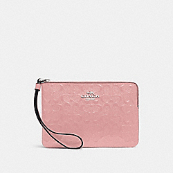 CORNER ZIP WRISTLET IN SIGNATURE LEATHER - PETAL/SILVER - COACH F58034
