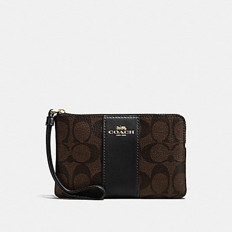 COACH f58035 CORNER ZIP WRISTLET IN SIGNATURE COATED CANVAS WITH LEATHER STRIPE IMITATION GOLD/BROWN/BLACK