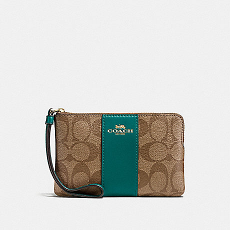 COACH CORNER ZIP WRISTLET IN SIGNATURE CANVAS - KHAKI/DARK TURQUOISE/LIGHT GOLD - F58035