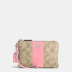 COACH CORNER ZIP WRISTLET IN SIGNATURE COATED CANVAS WITH LEATHER STRIPE - SILVER/LIGHT KHAKI/BLUSH - F58035