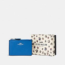 BOXED MINI SKINNY ID CASE - SV/LAPIS - COACH F58037