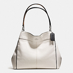 LEXY SHOULDER BAG WITH CONTRAST TRIM IN PEBBLE LEATHER - f58044 - SILVER/CHALK MULTI