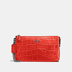 COACH NOLITA WRISTLET 24 IN CROC EMBOSSED LEATHER - DARK GUNMETAL/DEEP CORAL - F58051