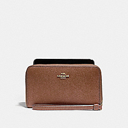 COACH PHONE WALLET - LIGHT GOLD/SADDLE 2 - F58053