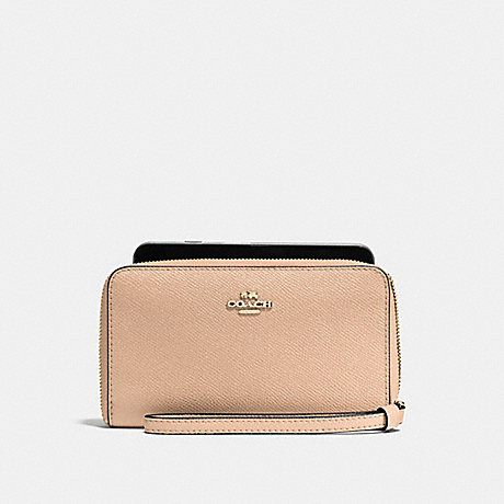 COACH PHONE WALLET IN CROSSGRAIN LEATHER - IMITATION GOLD/BEECHWOOD - f58053