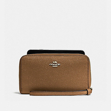 COACH PHONE WALLET - LIGHT SADDLE/LIGHT GOLD - F58053