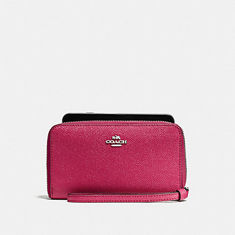 COACH PHONE WALLET - SILVER/HOT PINK - f58053