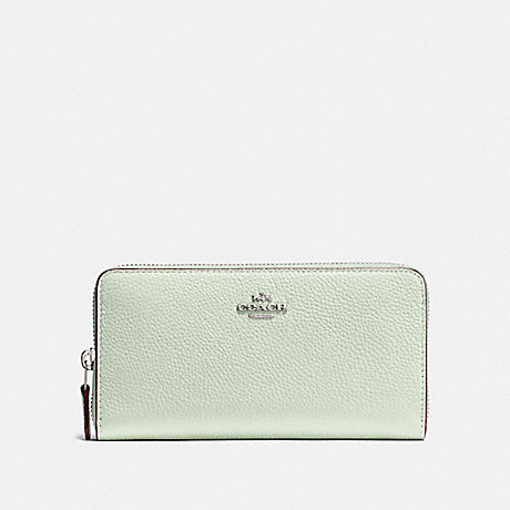 COACH ACCORDION ZIP WALLET - PALE GREEN/SILVER - F58059