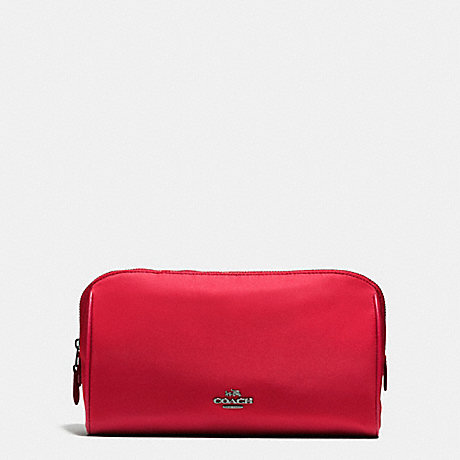 COACH f58064 COSMETIC CASE 22 IN NYLON BLACK ANTIQUE NICKEL/TRUE RED