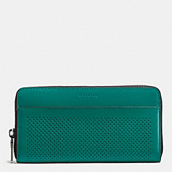 COACH ACCORDION WALLET IN PERFORATED LEATHER - SEAGREEN/BLACK - F58104