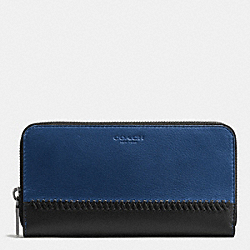 ACCORDION WALLET IN BASEBALL STITCH LEATHER - f58105 - INDIGO/BLACK