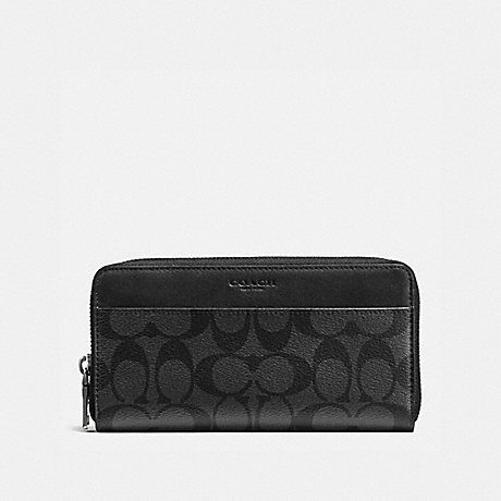 COACH ACCORDION WALLET IN SIGNATURE CANVAS - CHARCOAL/BLACK - F58112