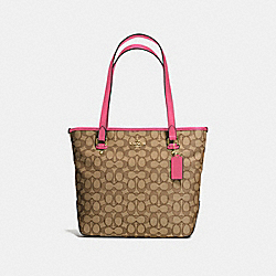 ZIP TOP TOTE IN OUTLINE SIGNATURE - f58282 - IMITATION GOLD/KHAKI STRAWBERRY