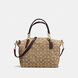 SMALL KELSEY SATCHEL IN OUTLINE SIGNATURE - f58283 - IMITATION GOLD/KHAKI/BROWN