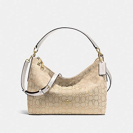 COACH f58284 EAST/WEST CELESTE CONVERTIBLE HOBO IN OUTLINE SIGNATURE IMITATION GOLD/LIGHT KHAKI/CHALK