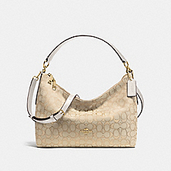 EAST/WEST CELESTE CONVERTIBLE HOBO IN OUTLINE SIGNATURE - f58284 - IMITATION GOLD/LIGHT KHAKI/CHALK
