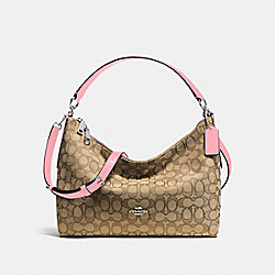 EAST/WEST CELESTE CONVERTIBLE HOBO IN OUTLINE SIGNATURE JACQUARD - SILVER/KHAKI/BLUSH - COACH F58284
