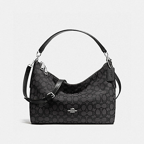 COACH EAST/WEST CELESTE CONVERTIBLE HOBO IN OUTLINE SIGNATURE - SILVER/BLACK SMOKE/BLACK - f58284