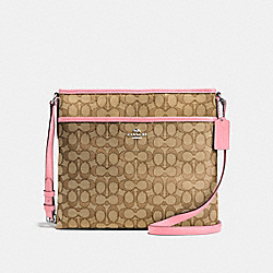 FILE BAG IN OUTLINE SIGNATURE JACQUARD - f58285 - SILVER/KHAKI/BLUSH