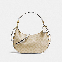EAST/WEST HARLEY HOBO IN SIGNATURE COATED CANVAS - f58288 - IMITATION GOLD/LIGHT KHAKI