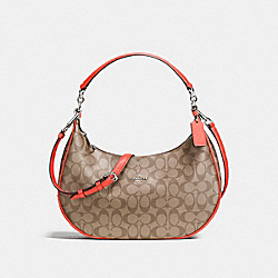 EAST/WEST HARLEY HOBO IN SIGNATURE COATED CANVAS - SILVER/KHAKI - COACH F58288