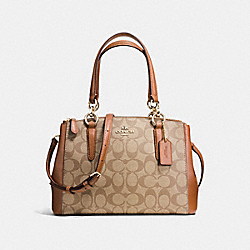 MINI CHRISTIE CARRYALL IN SIGNATURE - f58290 - IMITATION GOLD/KHAKI/SADDLE