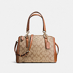 COACH MINI CHRISTIE CARRYALL IN SIGNATURE COATED CANVAS - LIGHT GOLD/KHAKI - F58290