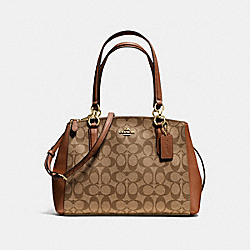 COACH SMALL CHRISTIE CARRYALL IN SIGNATURE - IMITATION GOLD/KHAKI/SADDLE - F58291