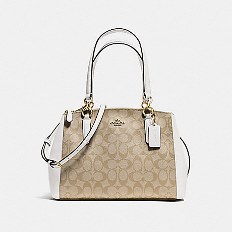 COACH f58291 SMALL CHRISTIE CARRYALL IN SIGNATURE IMITATION GOLD/LIGHT KHAKI/CHALK