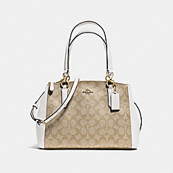 SMALL CHRISTIE CARRYALL IN SIGNATURE - f58291 - IMITATION GOLD/LIGHT KHAKI/CHALK