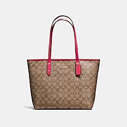 COACH CITY ZIP TOTE IN SIGNATURE COATED CANVAS - IMITATION GOLD/KHAKI/BRIGHT PINK - F58292