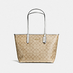 COACH CITY ZIP TOTE IN SIGNATURE CANVAS - LIGHT KHAKI/CHALK/LIGHT GOLD - F58292
