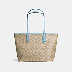 CITY ZIP TOTE IN SIGNATURE CANVAS - LT KHAKI/CORNFLOWER/SILVER - COACH F58292