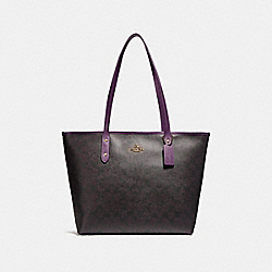 CITY ZIP TOTE - SILVER/BROWN - COACH F58292