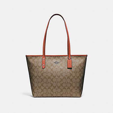 COACH f58292 CITY ZIP TOTE KHAKI/ORANGE RED/SILVER