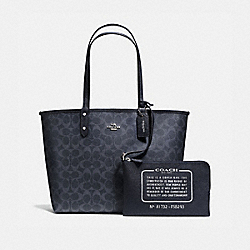 REVERSIBLE CITY TOTE IN DENIM SIGNATURE - f58293 - SILVER/DENIM MIDNIGHT