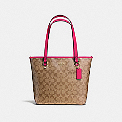 ZIP TOP TOTE IN SIGNATURE - f58294 - IMITATION GOLD/KHAKI BRIGHT PINK