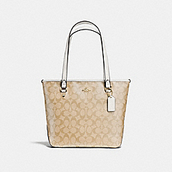 ZIP TOP TOTE IN SIGNATURE - f58294 - IMITATION GOLD/LIGHT KHAKI/CHALK