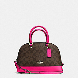 COACH MINI SIERRA SATCHEL IN SIGNATURE COATED CANVAS - IMITATION GOLD/BROWN - F58295