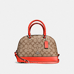 COACH MINI SIERRA SATCHEL IN SIGNATURE COATED CANVAS - SILVER/KHAKI - F58295