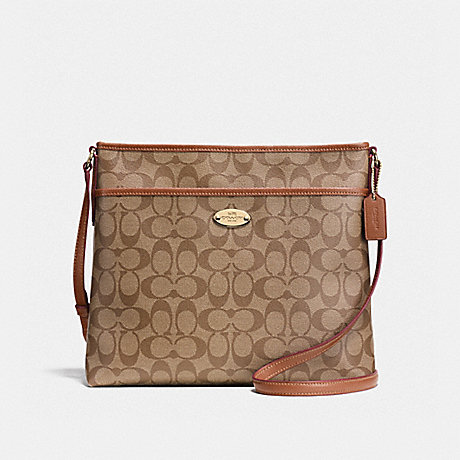 COACH FILE BAG IN SIGNATURE - IMITATION GOLD/KHAKI/SADDLE - f58297