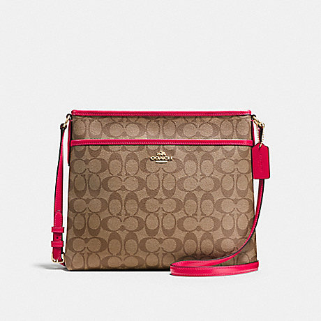 COACH FILE BAG IN SIGNATURE - IMITATION GOLD/KHAKI BRIGHT PINK - f58297
