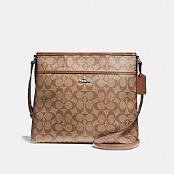 COACH FILE BAG IN SIGNATURE COATED CANVAS - LIGHT GOLD/KHAKI - F58297