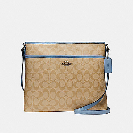 COACH f58297 FILE BAG IN SIGNATURE CANVAS LIGHT KHAKI/POOL/SILVER