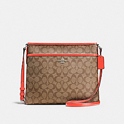 FILE BAG IN SIGNATURE COATED CANVAS - SILVER/KHAKI - COACH F58297